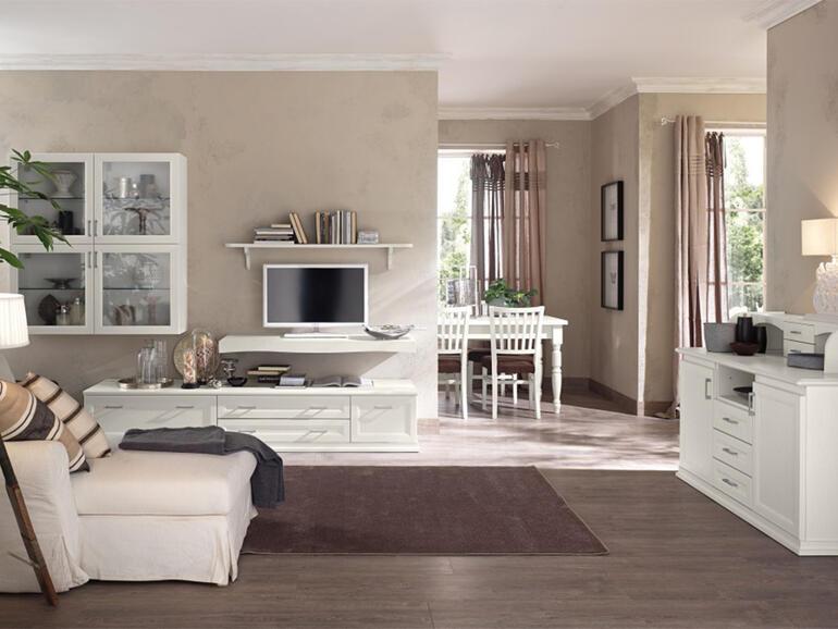soggiorno classico bianco vintage arredamento mobili
