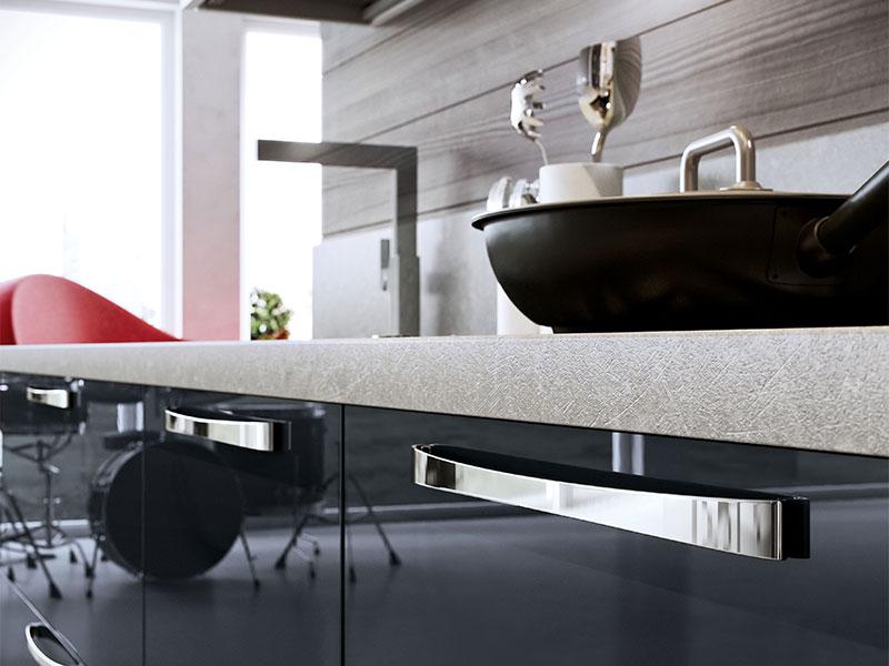 Cucina lineare moderna con soggiorno, Arredo