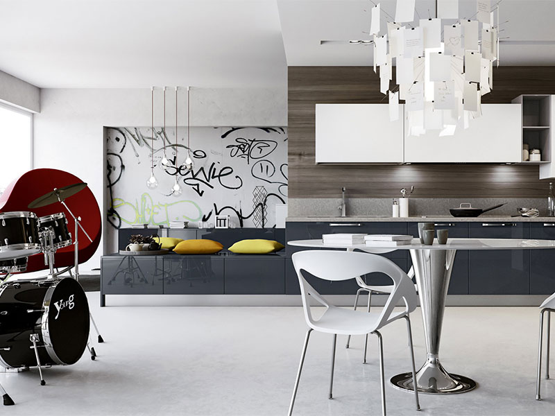cucina lineare moderna con soggiorno, arredo - Soggiorno E Cucina Moderna