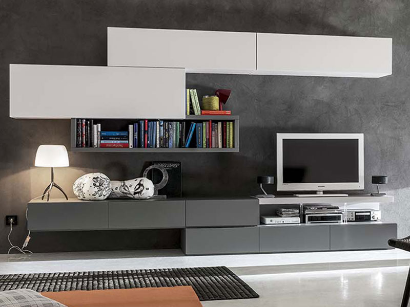 Soggiorno moderno bianco opaco arredamento mobili for Foto living moderni