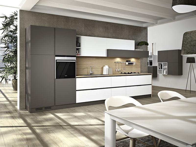 Cucina Lineare Moderna in Laccato Opaco, Arredamento Mobili ...