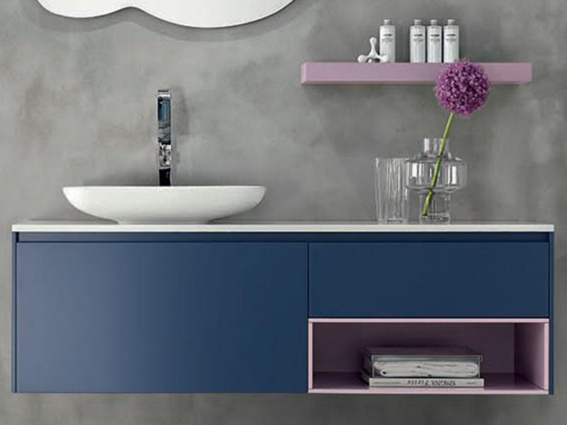 Bagno blu navy con lavabo in appoggio mobili bagno - Mobile bagno blu ...