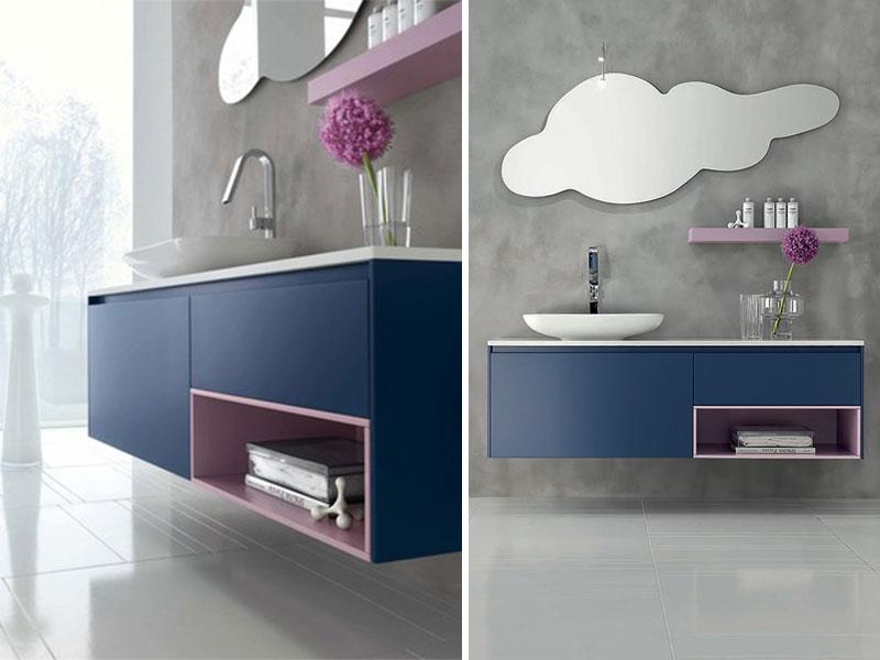 Bagno blu navy con lavabo in appoggio | Mobili Bagno