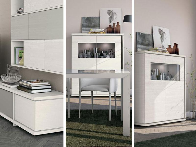 Soggiorno con libreria living arredamento mobili for Offerte arredamento completo ikea