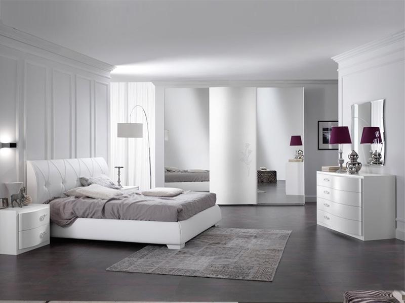 Camera matrimoniale da letto bianca con swarovski - Camera matrimoniale moderna ...