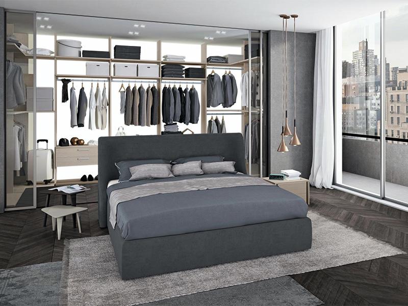 Camera matrimoniale denim con cabina armadio e testiera for Camere da letto moderne prezzi bassi