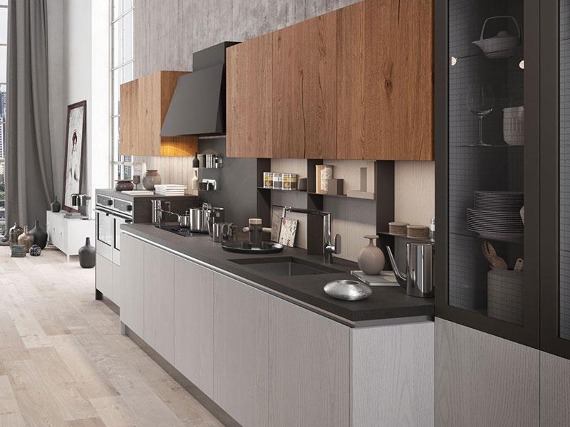 Cucina lineare con penisola arredamento mobili arredamento mobili arredissima - Cucine industrial vintage ...