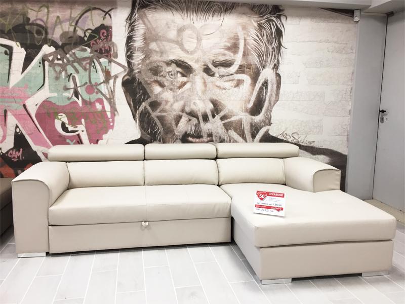 Divano in ecopelle bianco trasformabile arredamento mobili arredissima - Divano ecopelle offerta ...