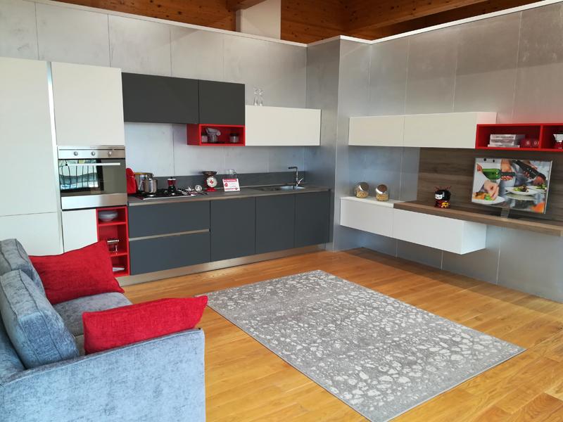 Cucina moderna lineare completa di zona linving for Zona living moderna