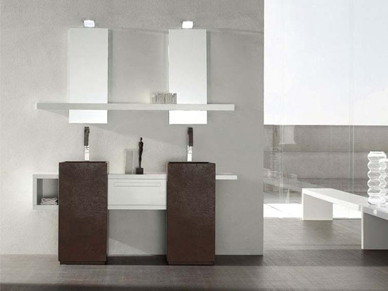bagno moderno con doppio lavello, arredo bagno - Bagni Moderni Doppio Lavabo