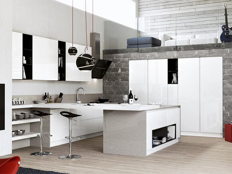 Cucina moderna con penisola arredamento mobili - Cucine living moderne ...