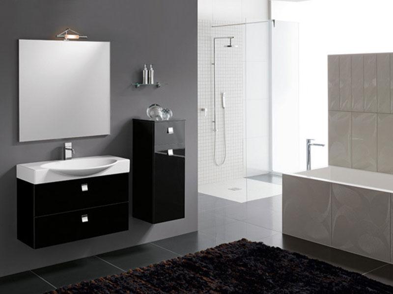 bagno nero moderno con specchiera | mobili bagno - Bagni Economici Moderni