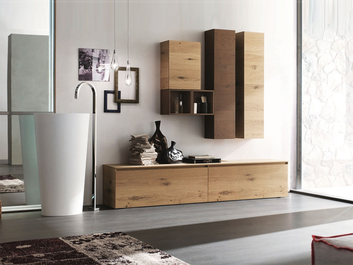 Arredo bagno in legno naturale mobili bagno - Immagini arredo bagno ...