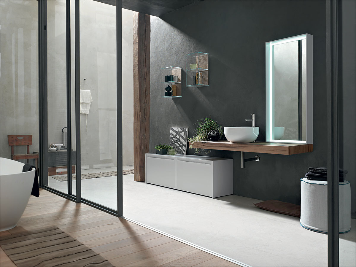 Bagno piano invecchiato lavabo ceramica arredamento for Arredo design