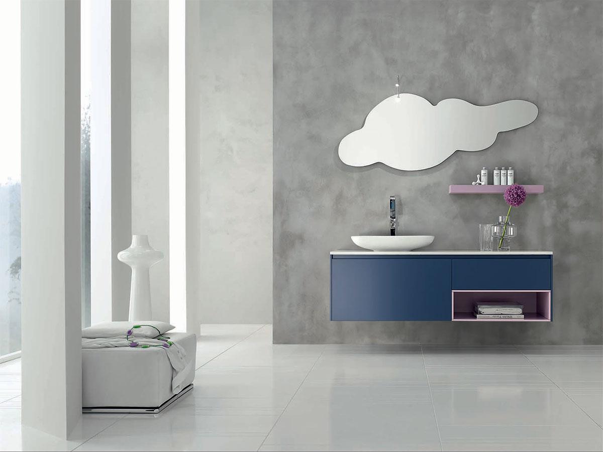 bagno blu navy con lavabo in appoggio mobili bagno