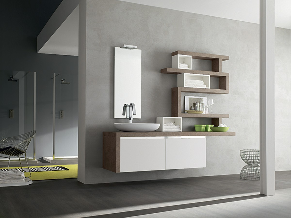 Mobili bagno bianco e legno mobili bagno arredamento for Arredamento bagni