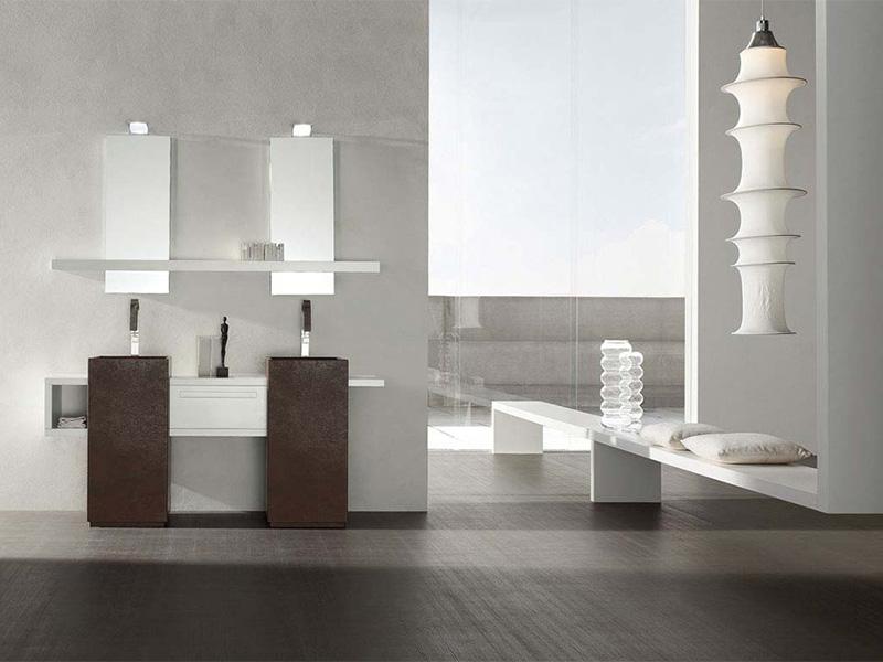 bagno moderno con doppio lavello, arredo bagno - Arredo Bagno Moderno Doppio Lavabo