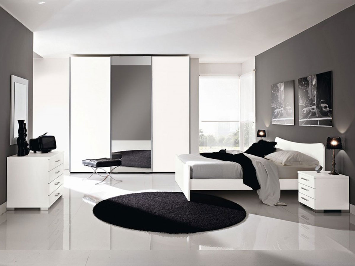 Camera matrimoniale bianca arredamento mobili arredissima for Lube camere da letto