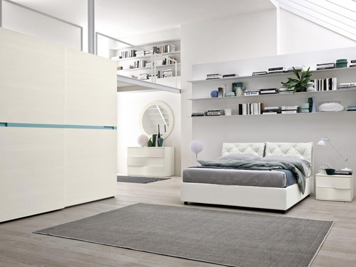 Camera matrimoniale in frassino bianco con armadio ad anta scorrevole e com arredissima - Camera da letto frassino bianco ...