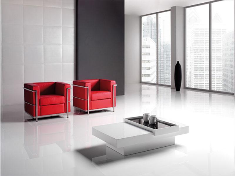 Tavolino bianco da salotto con accessorio arredamento for Salotto moderno bianco
