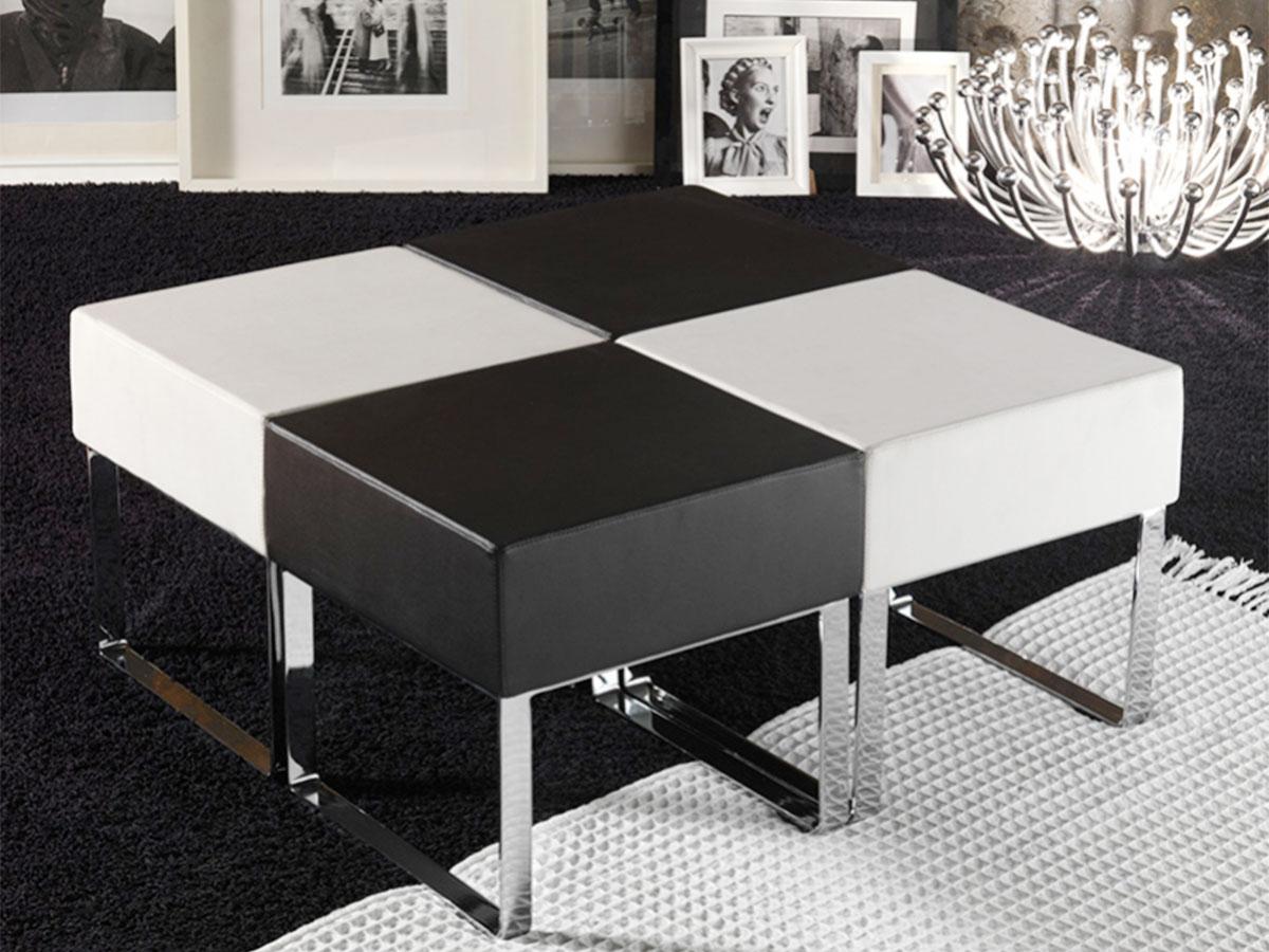 Pouf da salotto moderno bianco e nero arredamento mobili for Vendita online complementi d arredo