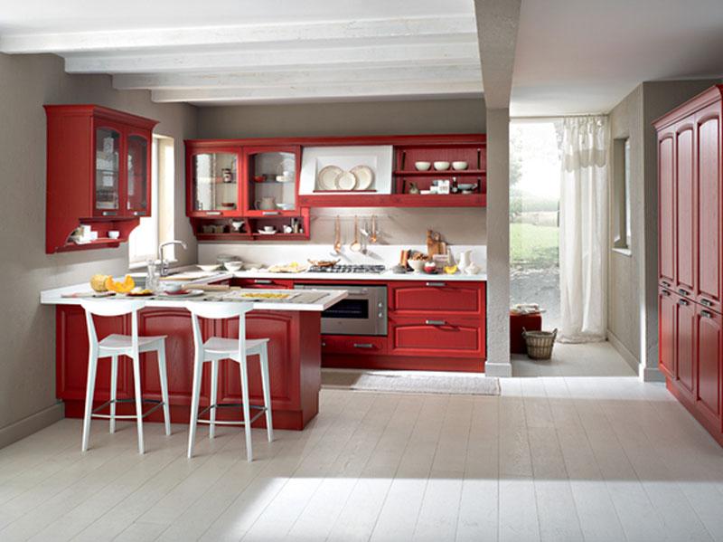 Cucina penisola rossa arredamento mobili arredissima for Casa classica moderna