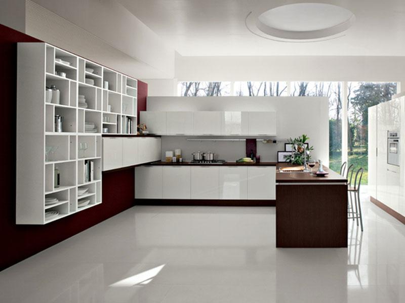 Cucina a penisola bianco e rovere arredamento mobili - Cucina rovere bianco ...