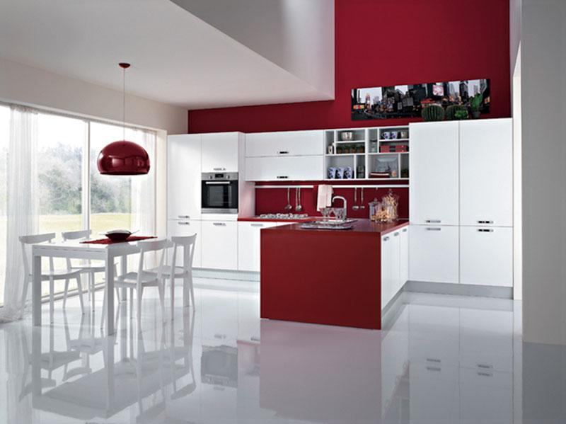 cucina moderna lineare con penisola, Disegni interni