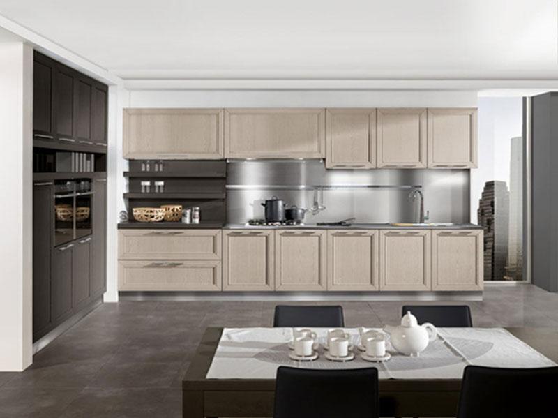 cucina lineare moderna in frassino miele - Cucine Arredissima
