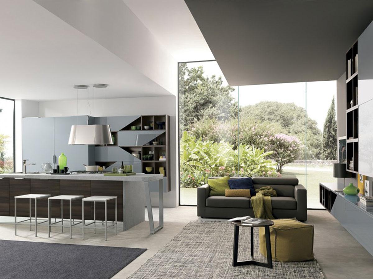Cucina moderna con soggiorno arredamento mobili for Idee arredo cucina soggiorno