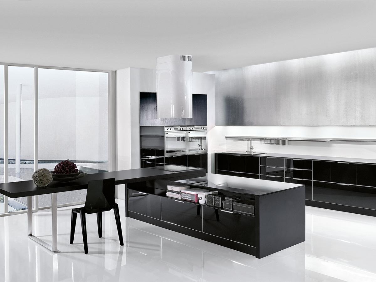 Cucina nera lucida
