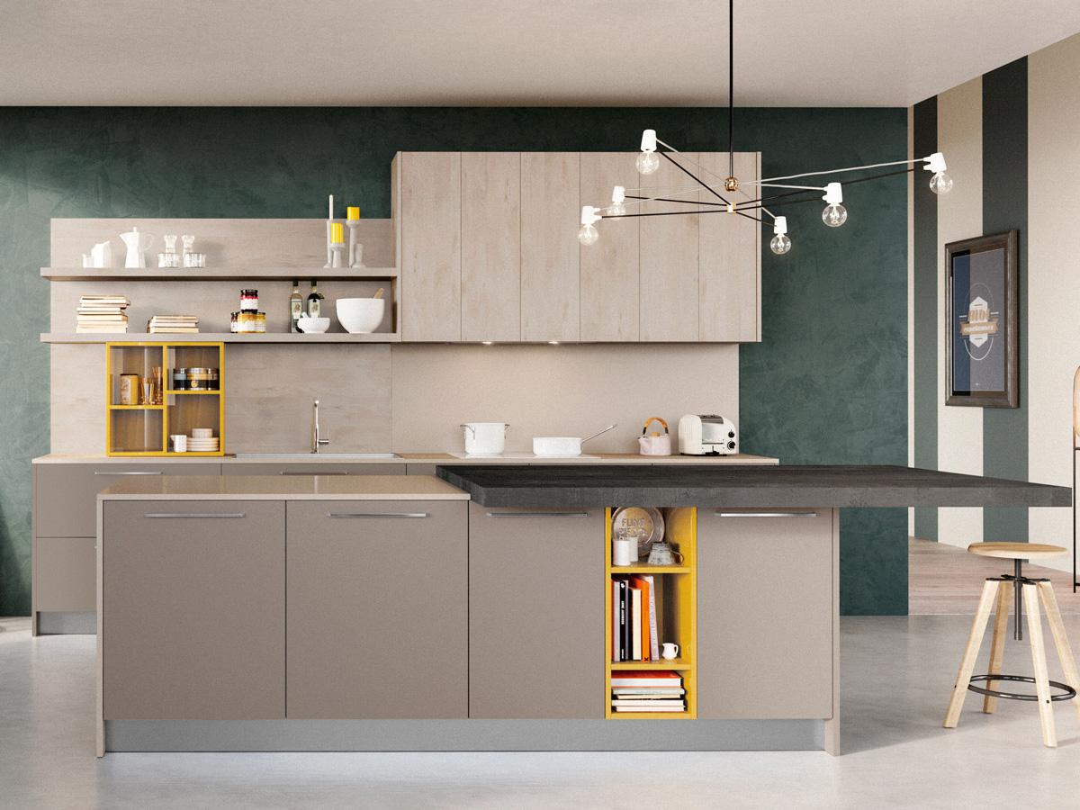 Cucina con isola moderna arredamento mobili - Cucine sospese da terra ...