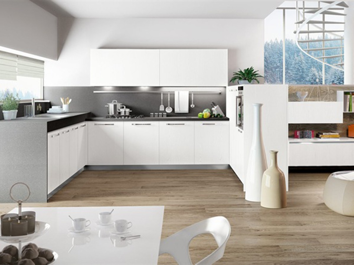 Cucina ad angolo moderna bianca, Arredo | Arredamento Mobili ArredissimA
