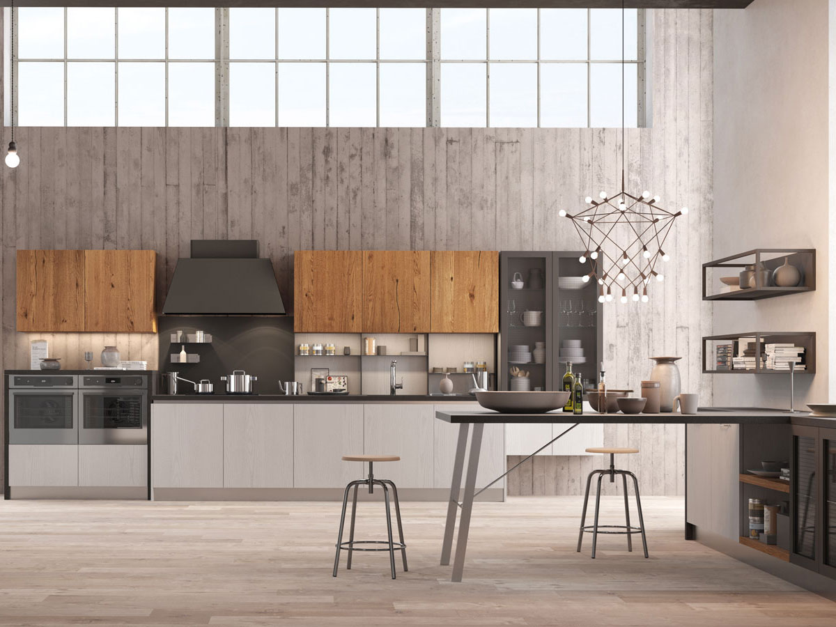 Isola pallet idee cucina for Mobili in stile industriale