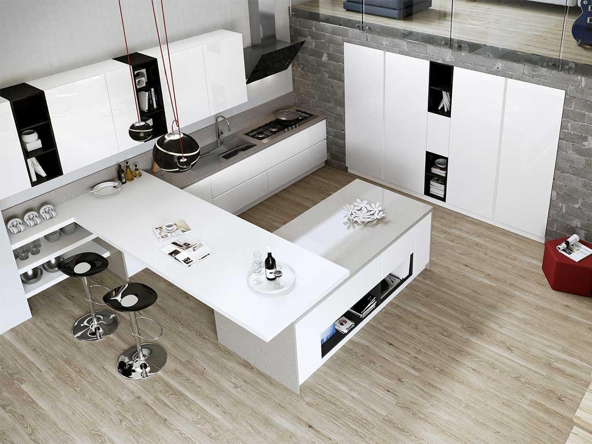 Cucina moderna con penisola arredamento mobili - Cucine ad angolo con penisola ...