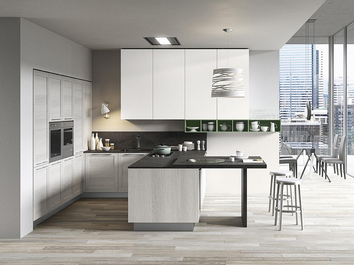 Cucina bianca con anta telaio arredamento mobili arredissima for Cucine moderne ad angolo