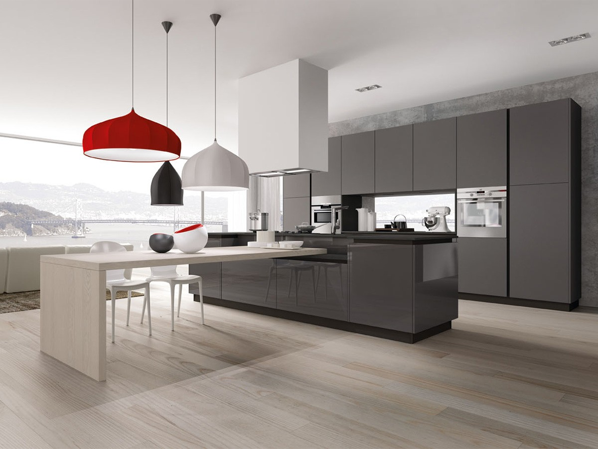 Cucina moderna a penisola arredamento mobili arredissima for Cucine moderne scure