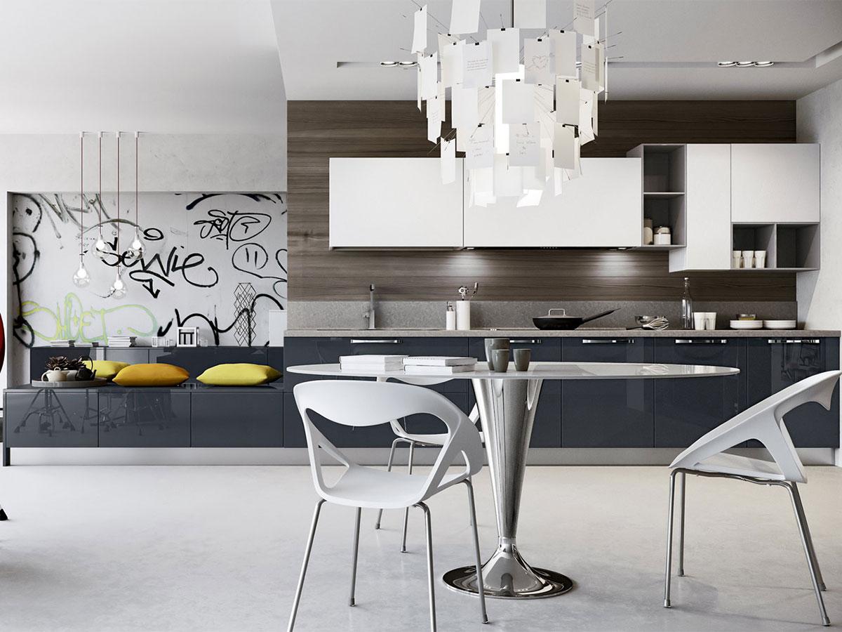 Cucina lineare moderna con soggiorno arredo arredamento mobili