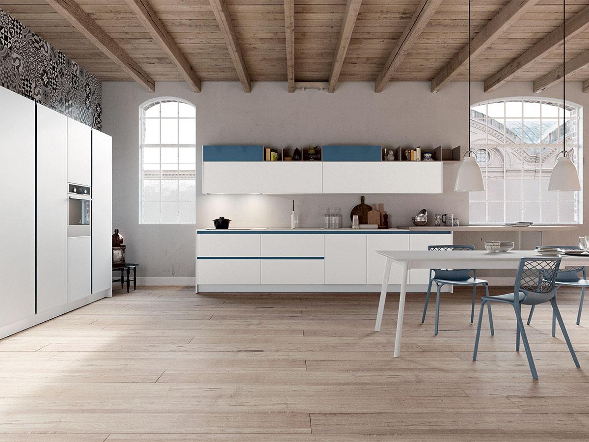 Cucina lineare bianca arredamento mobili arredissima for Ad giornale di arredamento