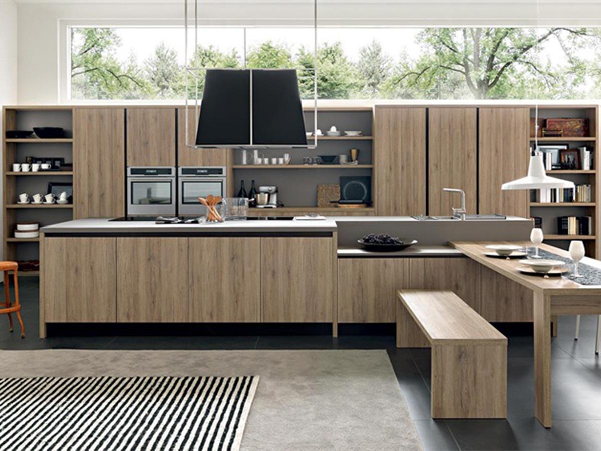 Cucina isola legno maniglia gola arredamento mobili for Cucine da arredo