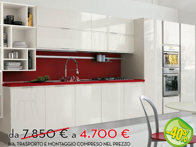 Cucina lineare bianca scontata | Arredamento Mobili ArredissimA