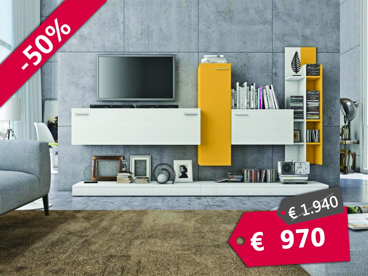 Soggiorno moderno bianco e giallo | Arredamento Mobili ...