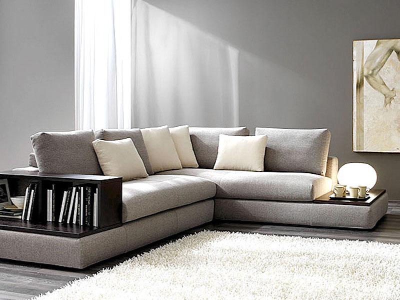 Divano in tessuto grigio arredamento salotto for Soggiorni e salotti
