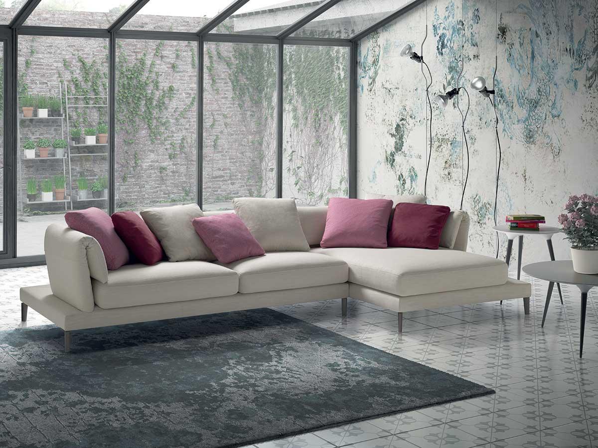 Divano con penisola bianco arredamento mobili arredissima for Immagini salotto