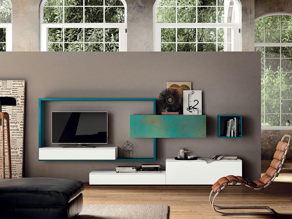 Parete per zona living moderna arredamento mobili for Mobili per salotti classici