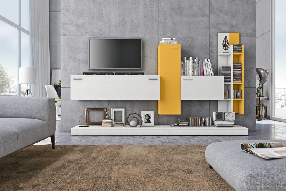 Soggiorno moderno rosso e bianco arredamento mobili for Soggiorni bianchi moderni