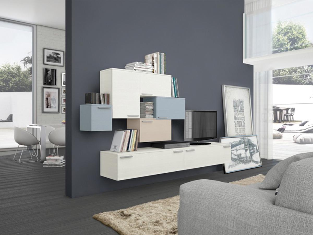 Parete attrezzata moderna arredamento mobili arredissima - Soggiorni pareti attrezzate moderne ...