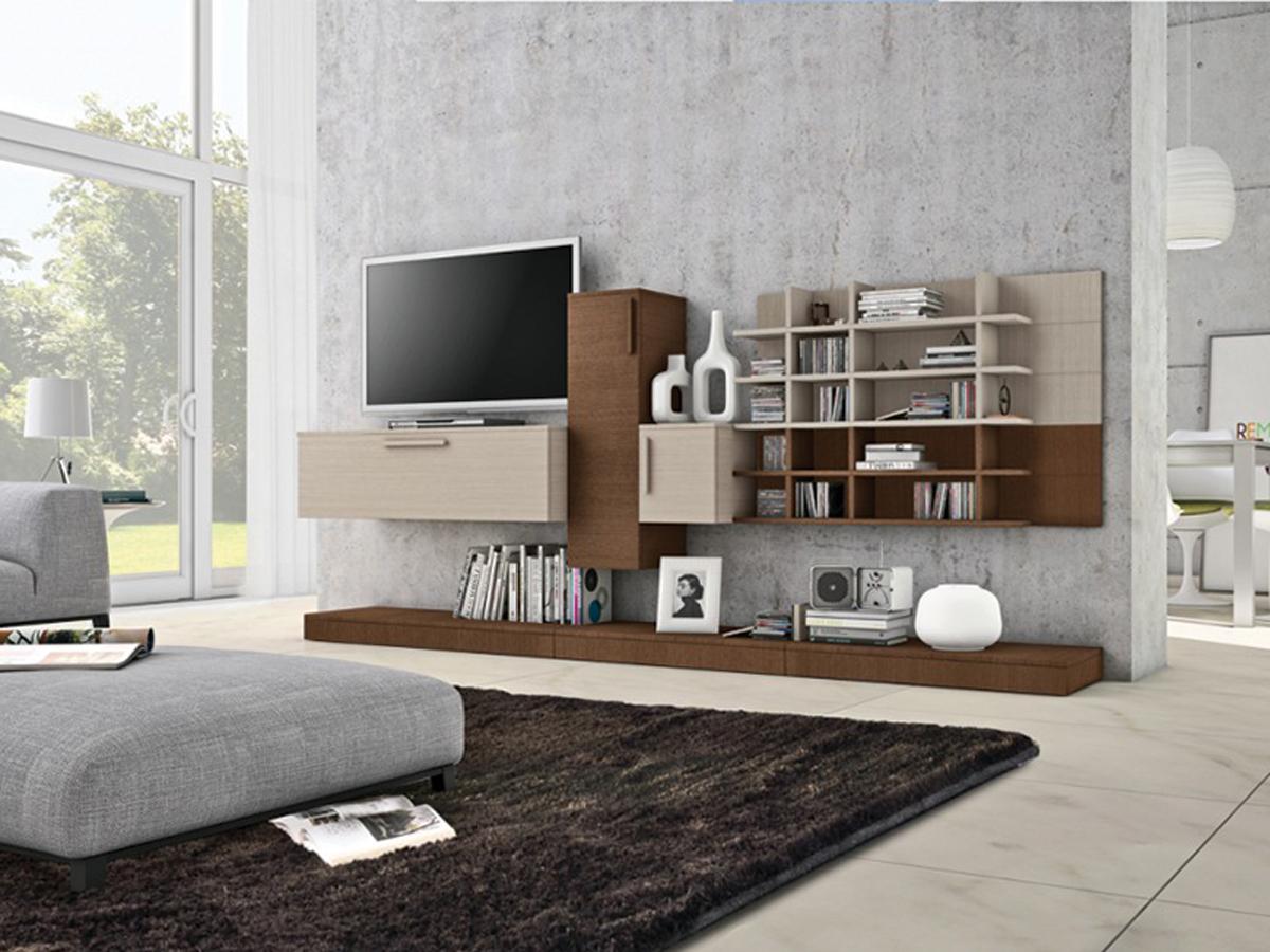 Pareti soggiorno in legno: soggiorno moderno flux. parete ...