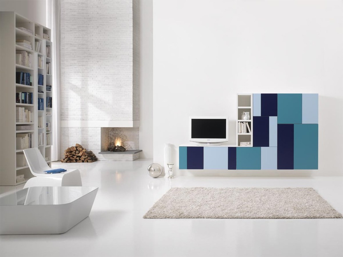 Parete attrezzata colorata arredamento salotto for Arredo soggiorno