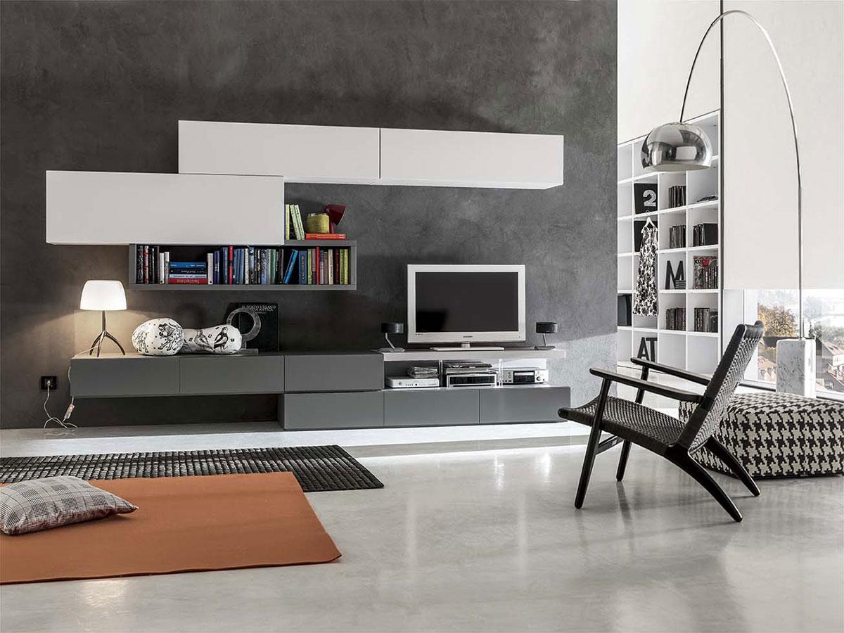 Soggiorno moderno bianco con pensili laccati opaco for Immagini mobili soggiorno moderni